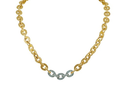 Fronay Co .925 Sterling Silver Designer CZ Links Gold Plated Necklace, Length 17