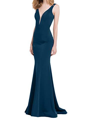 Blau Satin Partykleider V La Ausschnitt Tief Etuikleider Braut Marie Promkleider lang Meerjungfrau Abendkleider Traube Dunkel xg11S6q