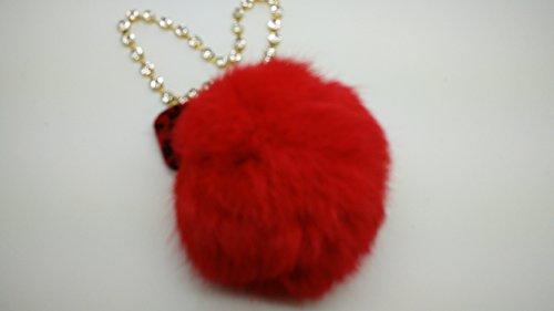 NEW Fashion 10cm Red Natural Soft Rabbit Fur Pom Pom Ball with Chain Bag Pendant Charm DIY Key Ring
