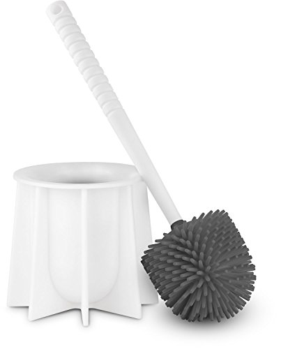 Brush Products Bowl Toilet (Tyroler Bright Tools Toilet Brush Set Made of 100% Silicone, This Toilet Bowl Brush and Holder Designed to Fits All Toilets & Bathrooms,White)
