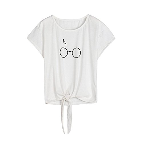 T-Shirt,Lowprofile 2018 New Women Short Sleeve Graphic Glasses O Neck Self Tie Funny Tops Blouse T Shirt for Teen Girls