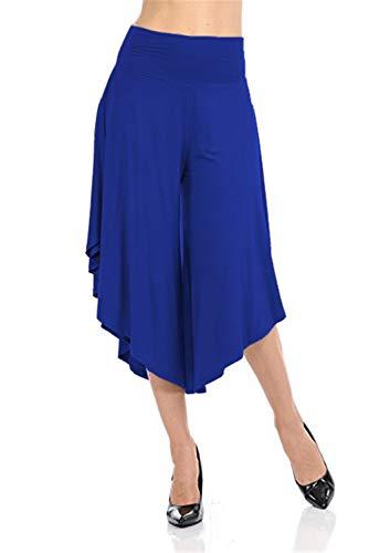 - TOP Fighting Women's Solid Ruffle Wide Leg High Waist Loose Palazzo Skirt Pants (Blue/XX-Large)