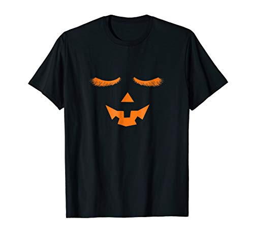 Eyelashes Pumpkin Face Halloween Costume T Shirt -