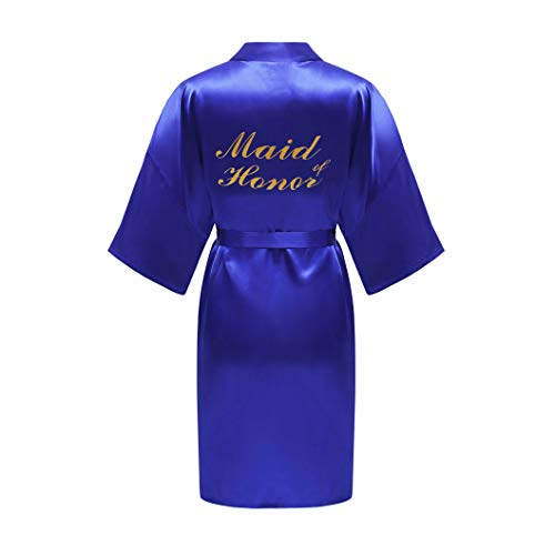 ALHAVONE Women's One Size Glittering Bride Bridesmaid Silky Short Kimono Robe Solid Color for Wedding Getting Ready (Sapphire, Maid of -