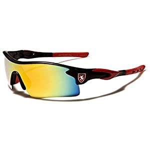 KHAN New Mens Sleek Sports Riding Cycling Sunglasses-Pick Your Color (BLACK-RED)