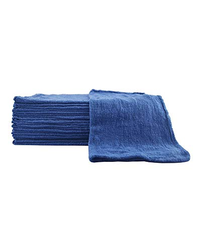 Sara Glove 14x14 Inch Shop Towel/Cleaning Mechanic Rags - 100% Cotton Commercial Towels, Perfect for Automotive Garage, Kitchen, Home (Blue) (100 Count) ()