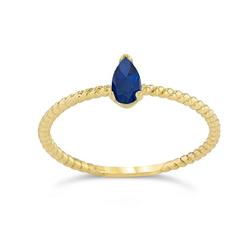 (Dainty 10k Yellow Gold Solitaire Sapphire Pear-Shaped Modern Engagement Rope Ring (Size)