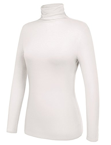 Kate Kasin Thin Stretchy Ruched Long Sleeve Turtleneck Top(L,Ivory) (Turtleneck Shirt Ivory)