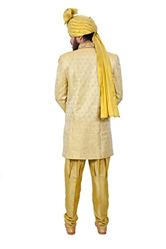 Golden Zari Brocade Silk Traditional Indian Wedding Indo-Western Sherwani for Men by Saris and Things (Image #4)