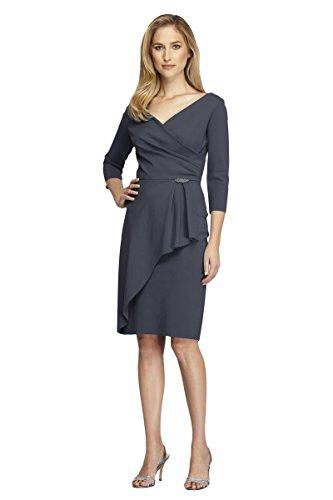 Alex Evenings Womens Petites Rhinestone Three-Quarter Sleeves Wrap Dress Gray 6P ()