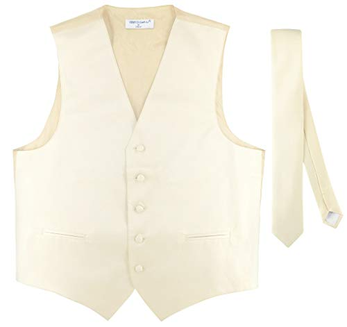 Men's Dress Vest & Skinny Necktie Solid Cream Color 2.5