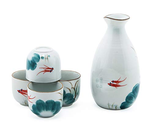 Happy Sales HSSS-RGFLTL, Japanese Design Goldfish Porcelain Sake ()