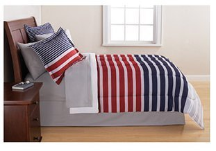 Boys Striped Red & Blue Bed in a Bag Bedding Set, (Full) (White Striped Bedding Red Blue And)