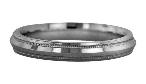 Wedding Bands; Platinum Knife Edge Milgrain Wedding Bands Men`s and Women`s 3mm Wide Comfort Fit Platinum Knife Edge