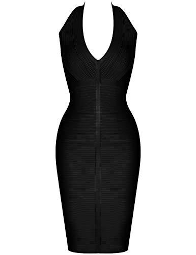 Neck V Women Dress Deep Cocktail Party 's Halter Black Whoinshop HdqXq