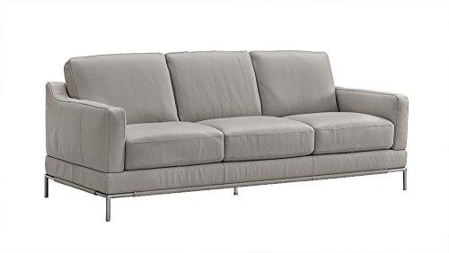 Natuzzi Editions Atrana Grey Leather Stationary Sofa ()