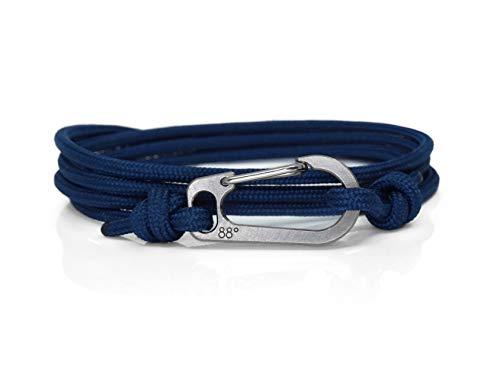 (Eighty Eight Degrees Titanium Climbing Bracelet, Carabiner Bracelet for Men or Women, Adjustable Rope Bracelet (Navy Blue))