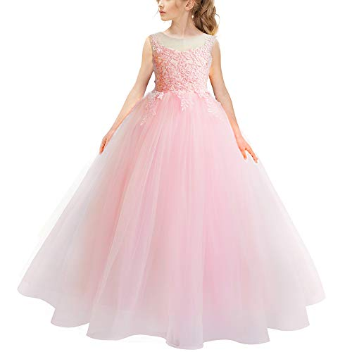 Blush Pink Princess Pageant Dresses for Girls Lace Embroidery Flower Girl Ball Gown Puffy Wedding Tulle Prom Birthday ()