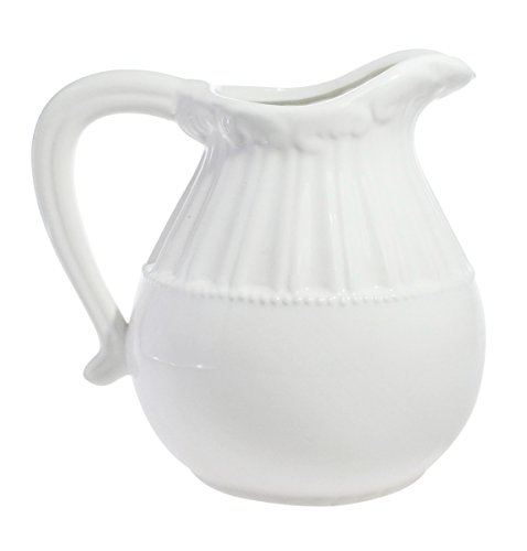 Elegant Decorative Classic Vintage Distressed White Ceramic Pitcher Jug Floral Vase - Short -