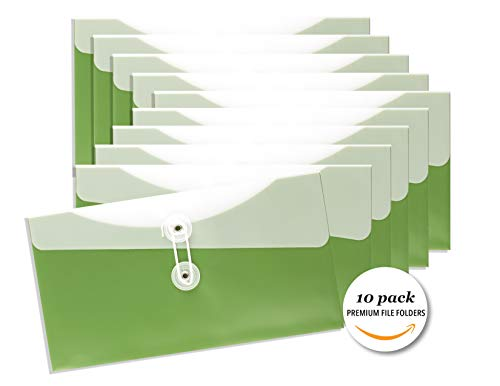 Premium Organization Folders, Tidy Up Clutter, Small Horizontal Poly Envelope Grass Green, Set of 10