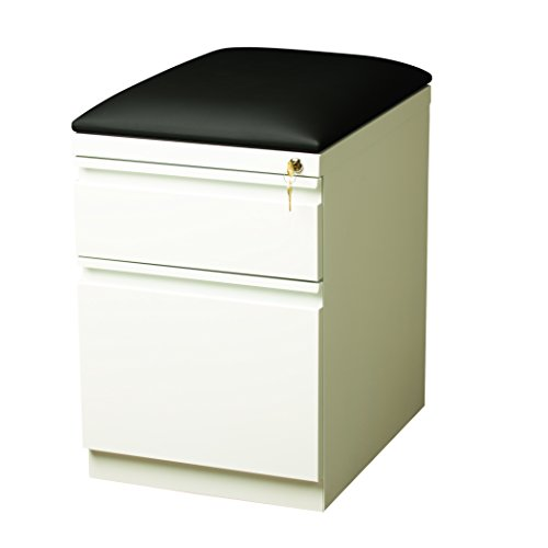 Series Mobile File Cabinet - Pro Series Two Drawer Mobile Pedestal File Cabinet with Seat Cushion, White, 20 inches deep (22296)