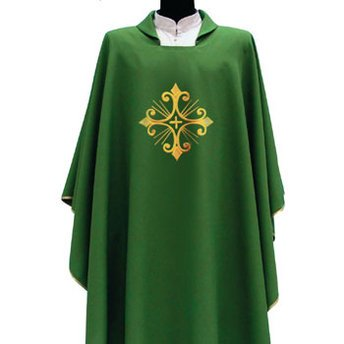 Primavera Style Green Chasuble with One Cross