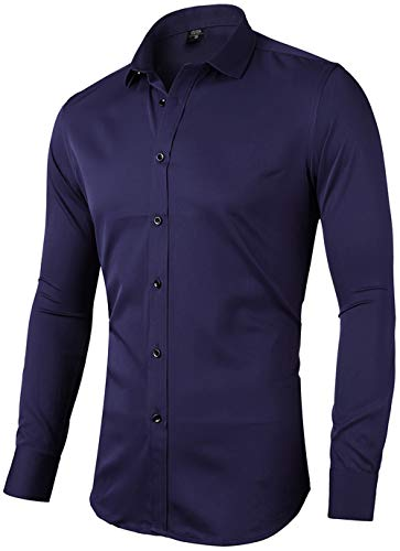 Mens Fiber Casual Button Up Slim Fit Collared Formal Shirts, Navy Blue, 15