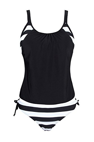 Azyuan Womens 2 Pieces Stripes Lined Up Double Up Tankini Top Swimwear Black