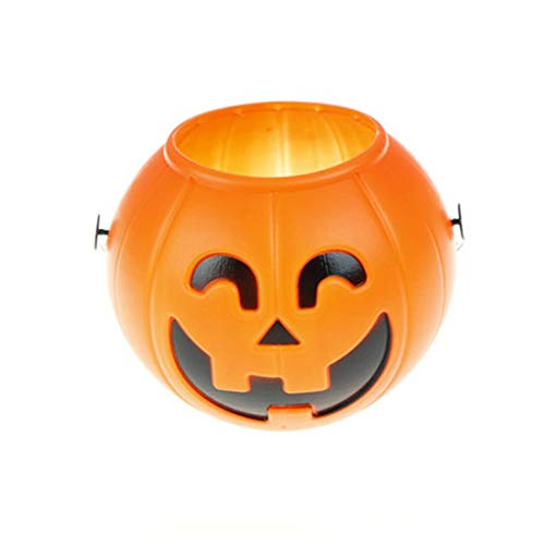 (ECYC Halloween Pumpkin Buckets Trick Treat Loot Sweet Candy Carry Holder, L)