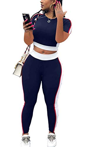 Women Sportwear Sets Crop Sweatsuits and Bodycon Leggings Two Piece Sport Suit Striped Outfits Sports Navy Blue XXL