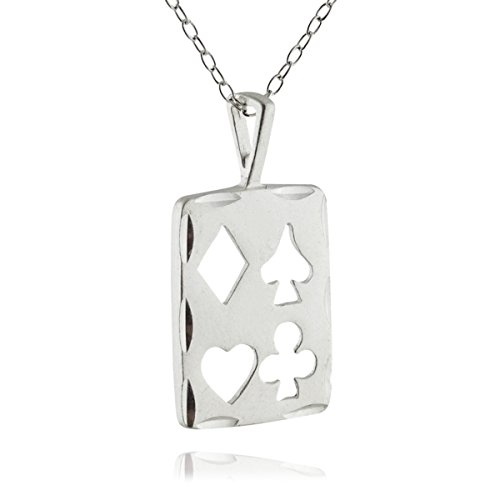 Sterling Silver Playing Card - Sterling Silver Playing Card Suits Charm Pendant Necklace, 18