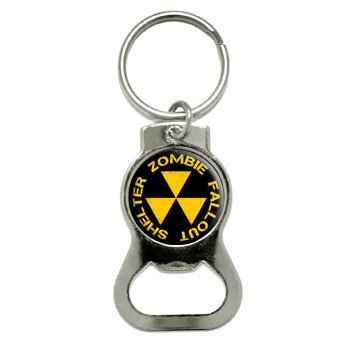 Graphics and More Zombie Fallout Shelter - Yellow On Black Bottle Cap Opener Keychain (KB0513)