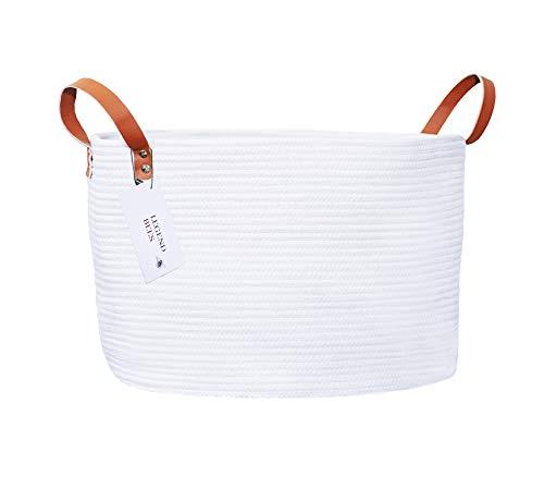 Cotton Rope Woven Storage Basket, Vegan Leather Handles, Toy Storage, Laundry Basket, Towel Storage, Blanket Storage, Nursery Storage, Extra Large - Off White