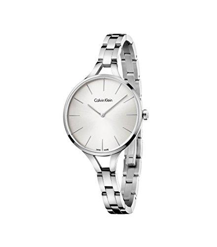 New Ladies Calvin Klein Graphic Silver Dial 36mm Stainless Steel Swiss Quartz Watch K7E23146