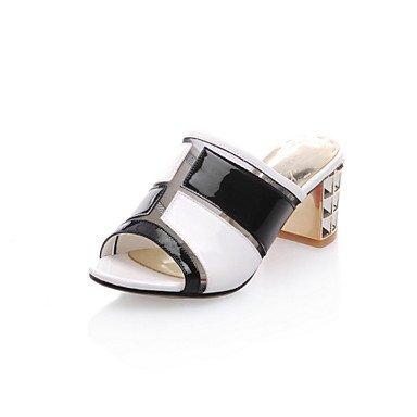 LFNLYX Zapatillas de mujer & Flip-Flops comodidad verano vestido de cuero de patente parte Casual & Noche Chunky talón dividido negro conjunta Peach caminando Peach