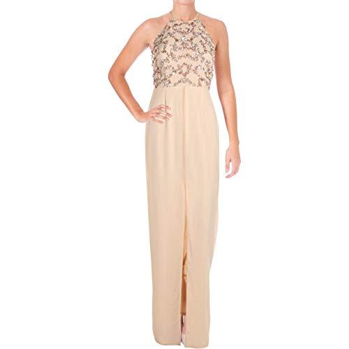 Aidan by Aidan Mattox Women's Halter Beaded Gown, Blush 6