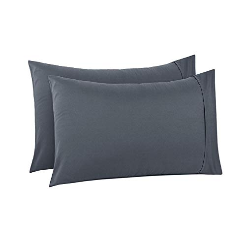 Dark grey Solid Cotton King Pillowcases Set of 2-500 TC Cotton Pillow Covers,Long Staple Cotton Ultra Soft & Silky Sateen Weave Reduces Allergies and Respiratory Irritation (20
