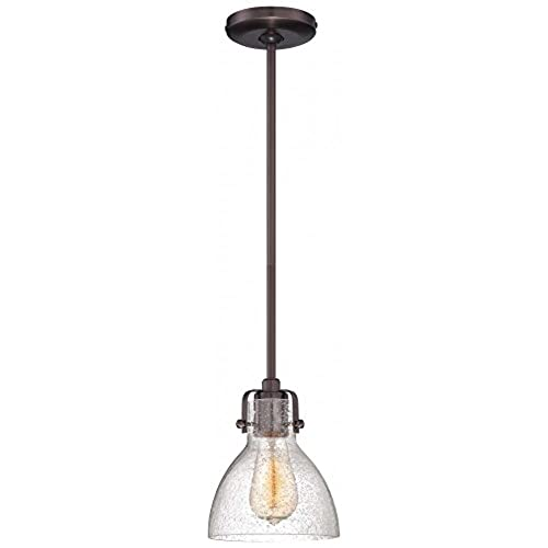 Seeded glass pendants amazon minka lavery 2244 267c 1 light pendant in dark brushed bronze finish wclear seeded glass mozeypictures Choice Image