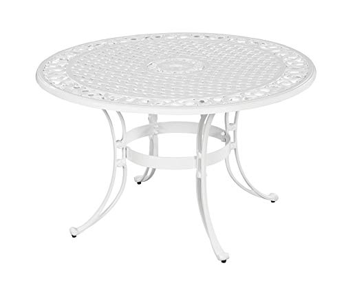 (Home Styles 5552-30 Biscayne Round Outdoor Dining Table, White Finish, 42-Inch)