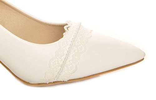White Lace and Pearls Strap Detail Pointed Toe Leather Insole Wedding Heels d1EZ7