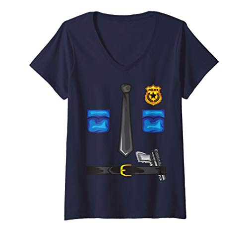 Womens Police Sheriff Uniform Costume Design | Funny Halloween Gift V-Neck T-Shirt]()
