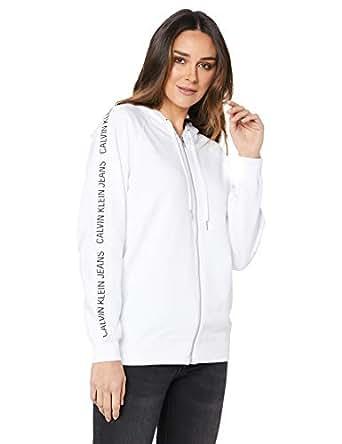 Calvin Klein Jeans Women's Institutional Raglan Zip Up Sweatshirt, Bright White, S
