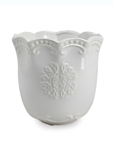 Dahlia Floral Textured White Porcelain Succulent Planter/Plant Pot/Flower Pot/Bonsai Pot, 1