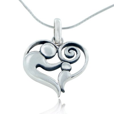 925 Sterling Silver Mom and Child Heart Mothers Day Pendant Necklace, 18 inches