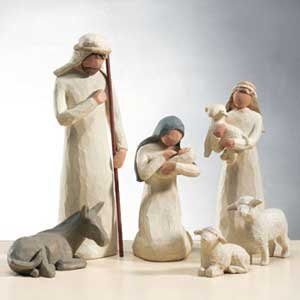 Willow Tree 19 Piece Nativity Set By Susan Lordi (With Ox and Goat) with Go Green! Compressed Bamboo Towels