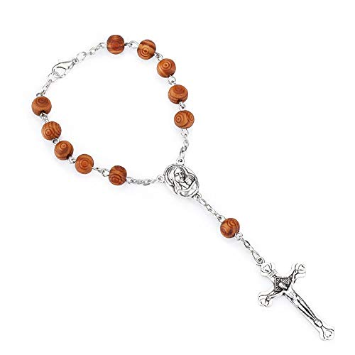 - Talisman4U One Decade Auto Rosary Wood Carved Beads Catholic Bracelet Holy Soil Medal Crucifix Divine Mercy Gift (Carved Beads)