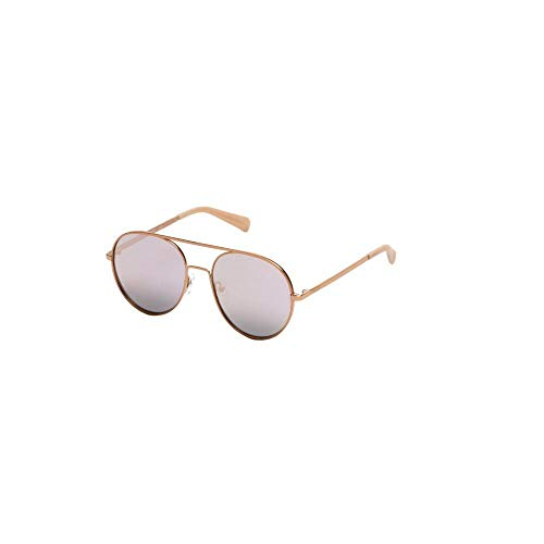 (Kenneth Cole Reaction Mirrored Cutout Aviator Sunglasses in Rose Gold)
