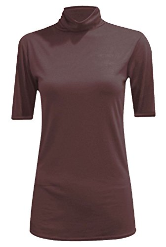 MA ONLINE Womens Fancy Stretch Plain Polo Neck Top Ladies Short Sleeve Turtle Neck Party Jumper Brown US -