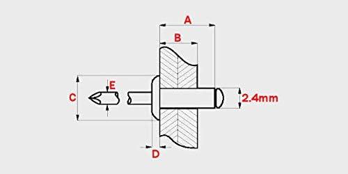 Standard Open Dome Aluminium Steel Blind Pop Rivets x Choose Length 1000 6mm 2.4mm
