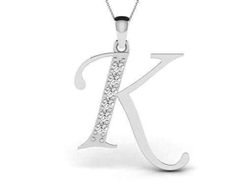 Or Blanc 18 ct Pendentifs Diamant en forme de K alphabet, 0.13 Ct Diamant, GH-SI, 0.72 grammes.